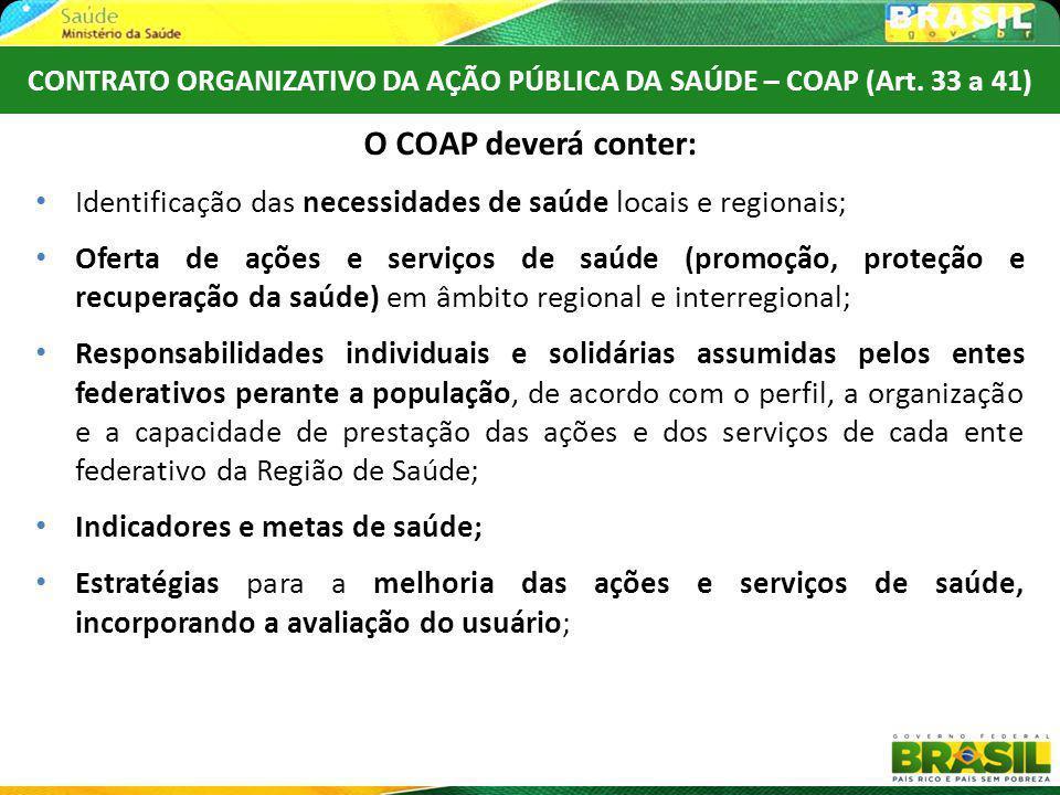 CONTRATO ORGANIZATIVO DA AÇÃO PÚBLICA DA SAÚDE – COAP (Art. 33 a 41)