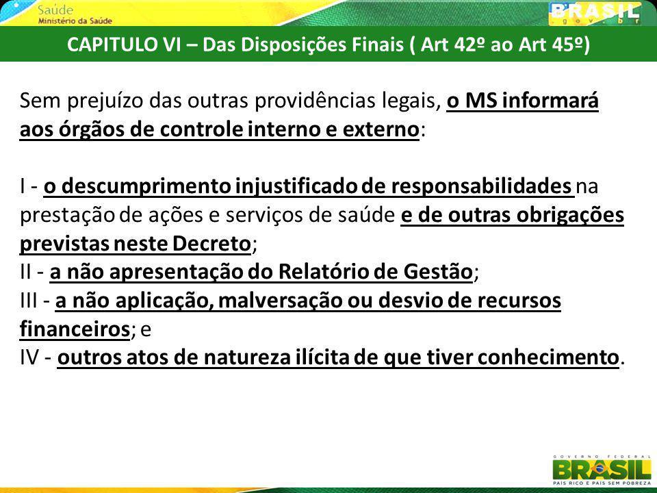 CAPITULO VI – Das Disposições Finais ( Art 42º ao Art 45º)