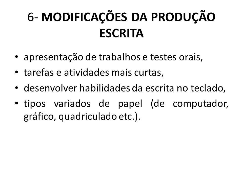6- MODIFICAÇÕES DA PRODUÇÃO ESCRITA