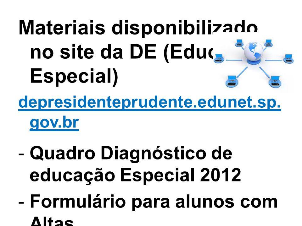 Materiais disponibilizado no site da DE (Educação Especial)