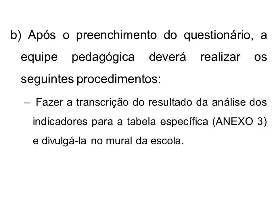 b) Após o preenchimento do questionário, a equipe pedagógica deverá realizar os seguintes procedimentos: