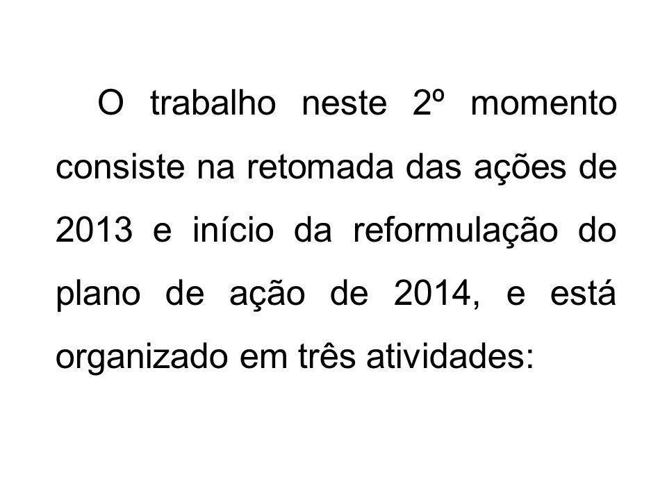 O trabalho neste 2º momento consiste na retomada das ações de 2013 e início da reformulação do plano de ação de 2014, e está organizado em três atividades:
