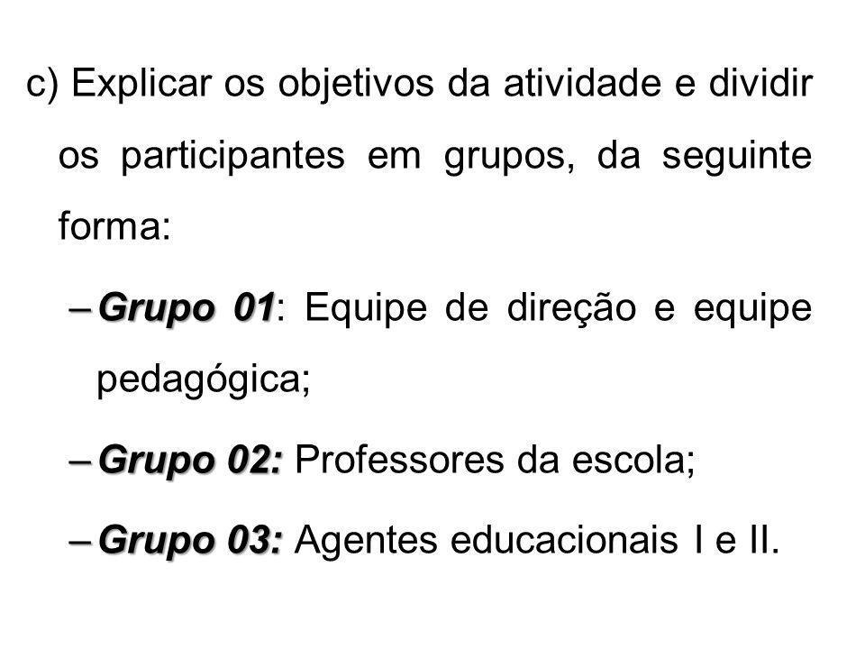 c) Explicar os objetivos da atividade e dividir os participantes em grupos, da seguinte forma: