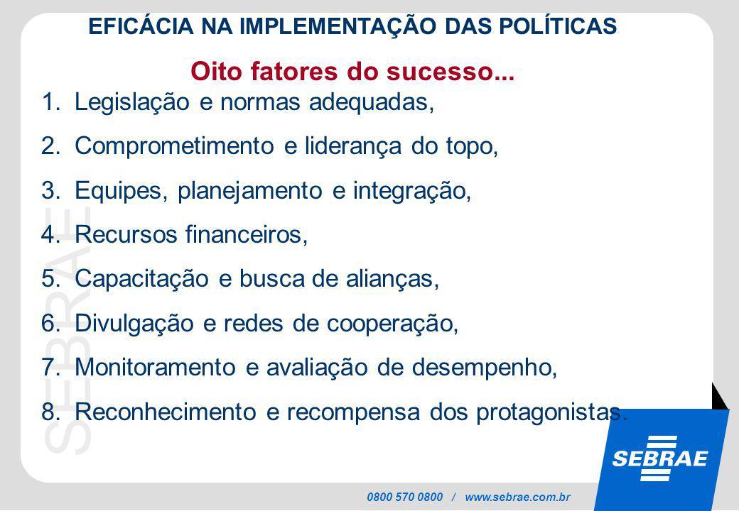 EFICÁCIA NA IMPLEMENTAÇÃO DAS POLÍTICAS Oito fatores do sucesso...