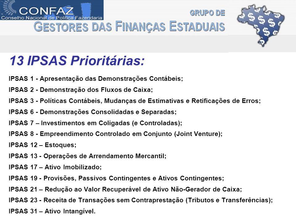 13 IPSAS Prioritárias: IPSAS 1 - Apresentação das Demonstrações Contábeis; IPSAS 2 - Demonstração dos Fluxos de Caixa;