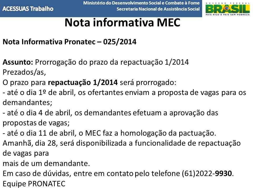 Nota informativa MEC Nota Informativa Pronatec – 025/2014