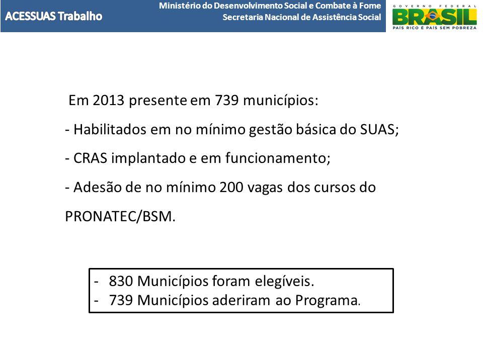 Em 2013 presente em 739 municípios: