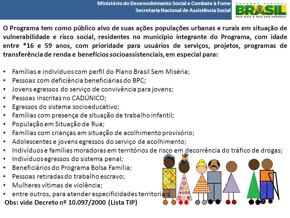 Famílias e indivíduos com perfil do Plano Brasil Sem Miséria;
