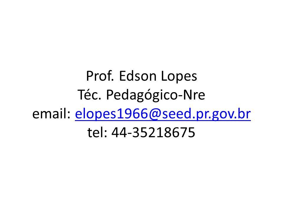 Prof. Edson Lopes Téc. Pedagógico-Nre email: elopes1966@seed.pr.gov.br tel: 44-35218675
