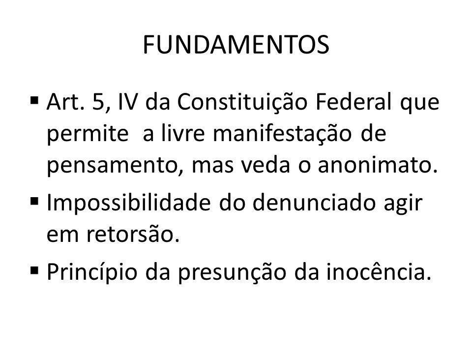 Fundamentos Art. 5, IV da Constituição Federal que permite a livre manifestação de pensamento, mas veda o anonimato.