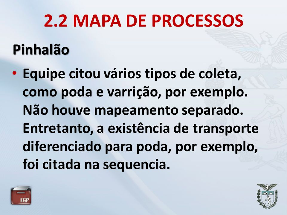 2.2 MAPA DE PROCESSOS Pinhalão