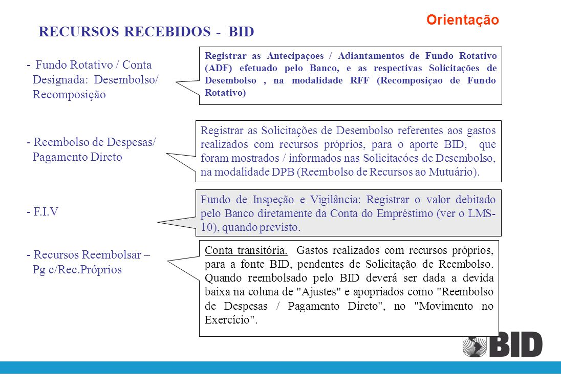 RECURSOS RECEBIDOS - BID