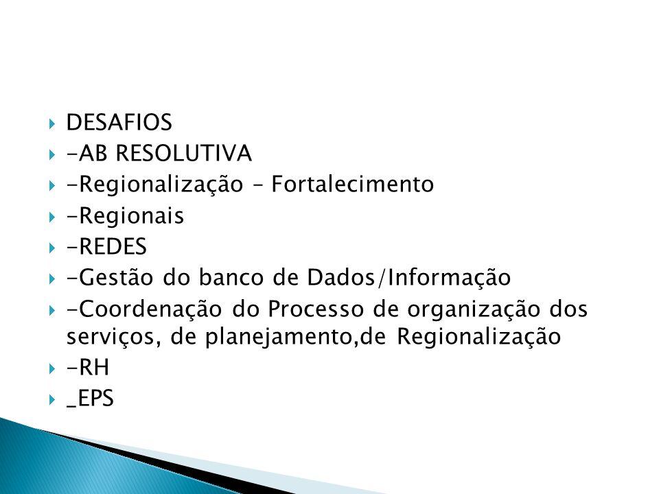 DESAFIOS -AB RESOLUTIVA. -Regionalização – Fortalecimento. -Regionais. -REDES. -Gestão do banco de Dados/Informação.