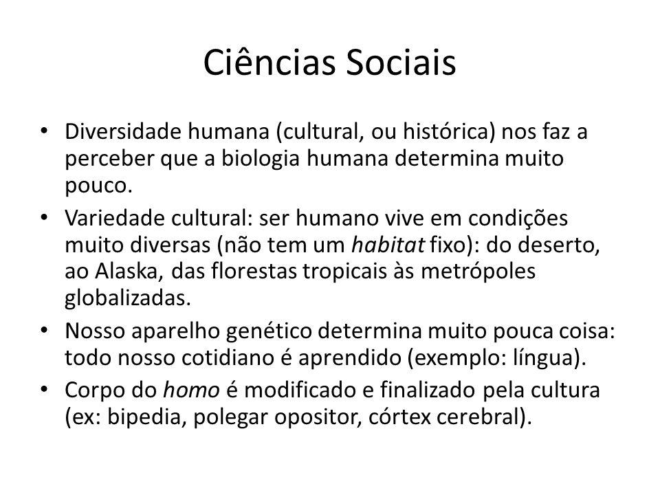 Ciências Sociais Diversidade humana (cultural, ou histórica) nos faz a perceber que a biologia humana determina muito pouco.