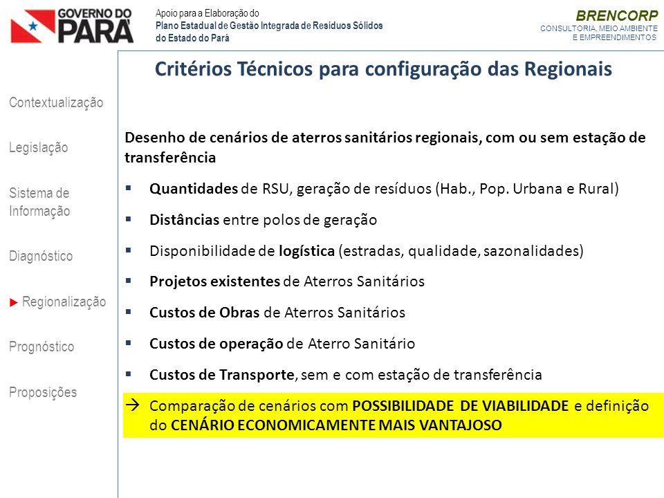 Critérios Técnicos para configuração das Regionais