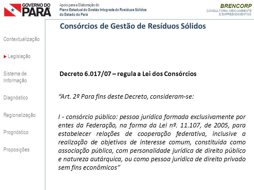 Decreto 6.017/07 – regula a Lei dos Consórcios