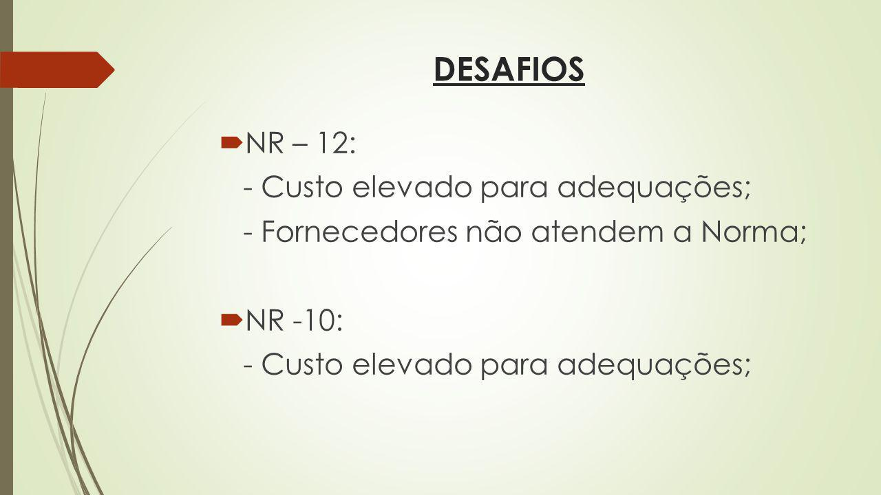 DESAFIOS NR – 12: - Custo elevado para adequações;