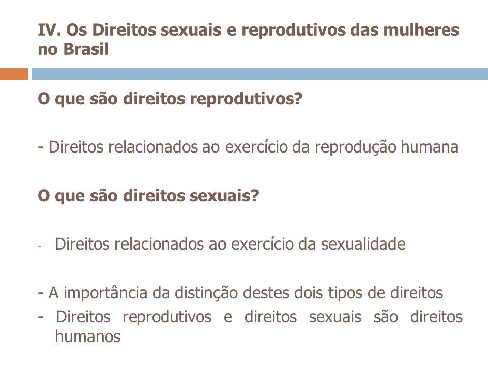 IV. Os Direitos sexuais e reprodutivos das mulheres no Brasil