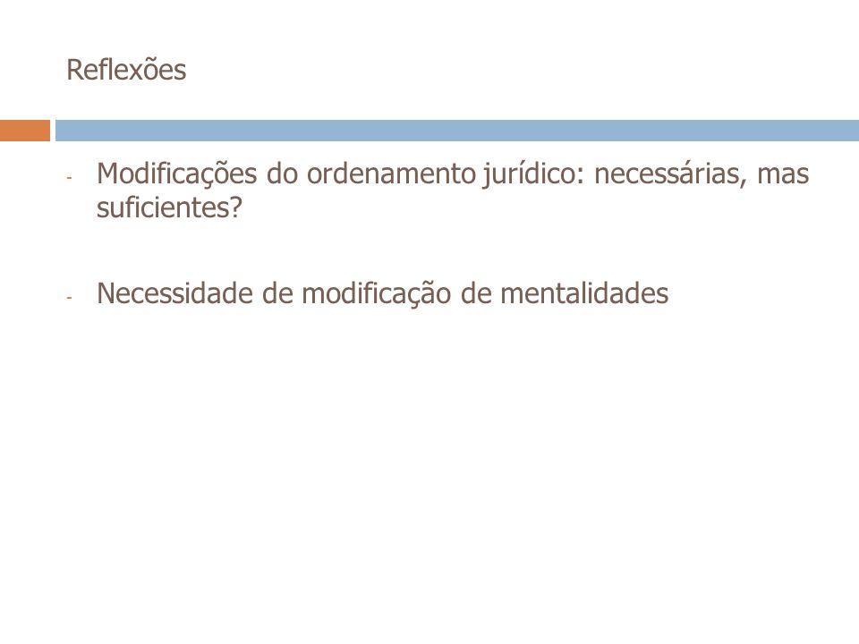 Reflexões Modificações do ordenamento jurídico: necessárias, mas suficientes.