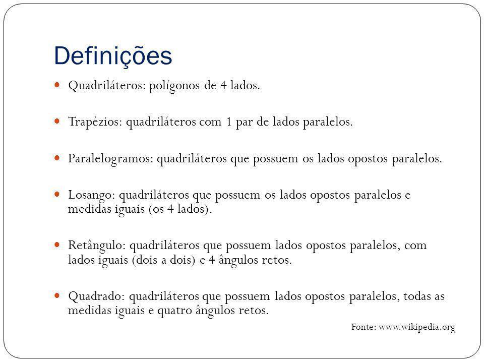 Definições Quadriláteros: polígonos de 4 lados.