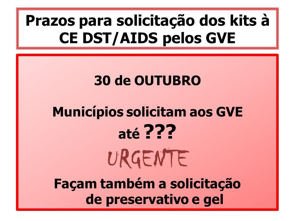 Prazos para solicitação dos kits à CE DST/AIDS pelos GVE