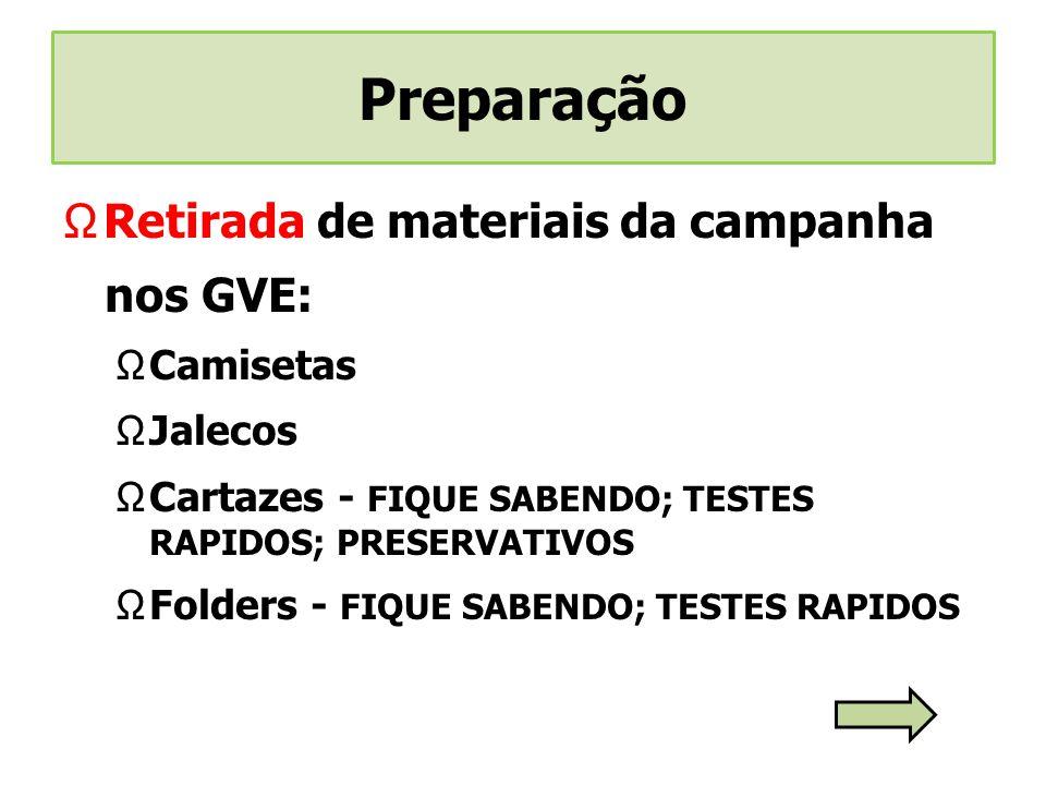 Preparação Retirada de materiais da campanha nos GVE: Camisetas
