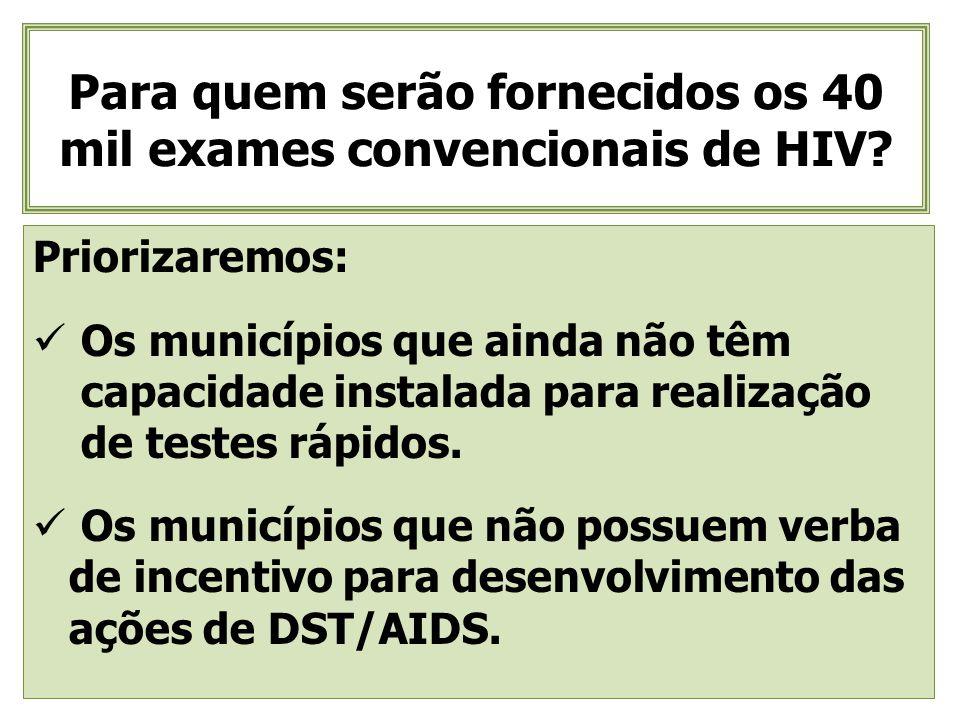 Para quem serão fornecidos os 40 mil exames convencionais de HIV