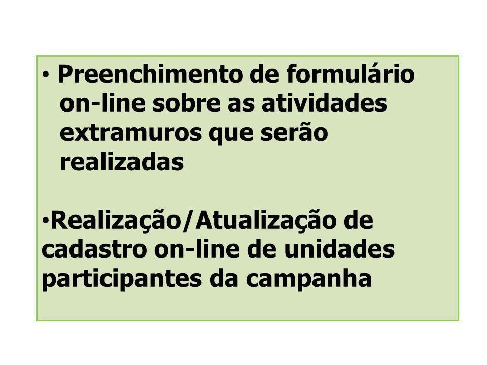 Preenchimento de formulário. on-line sobre as atividades