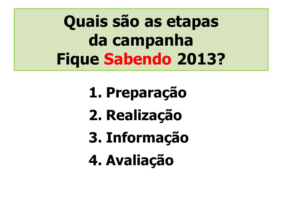 Quais são as etapas da campanha Fique Sabendo 2013