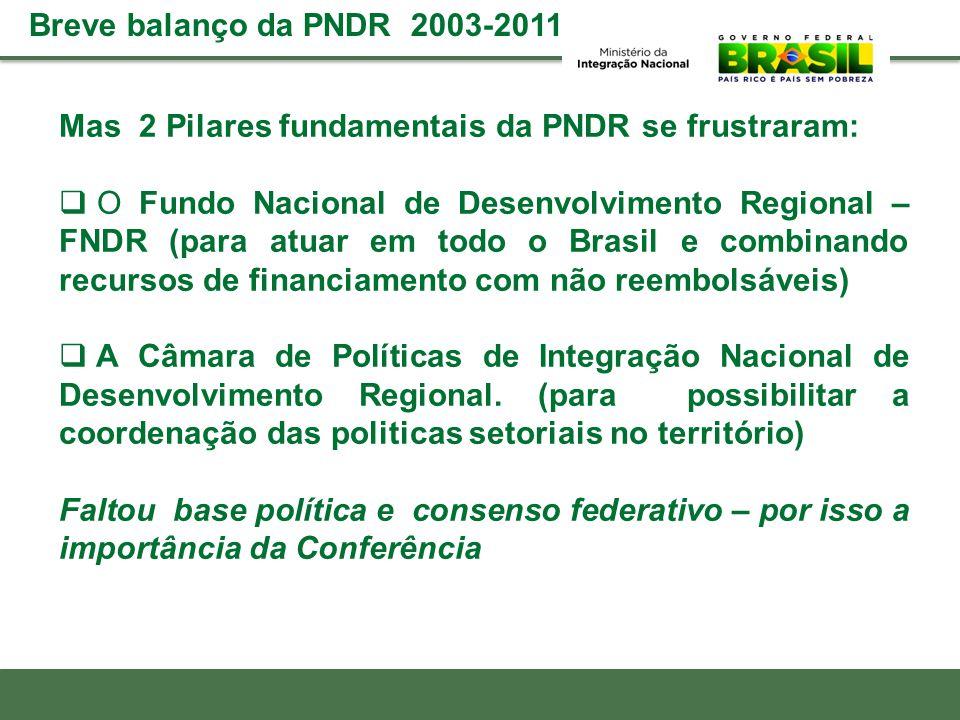 Breve balanço da PNDR 2003-2011 Mas 2 Pilares fundamentais da PNDR se frustraram: