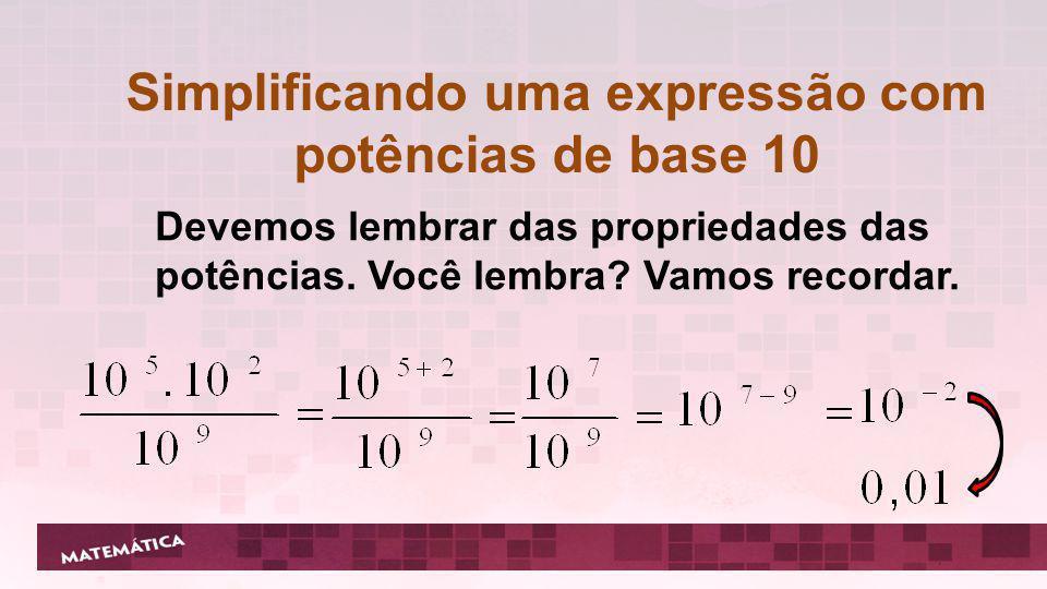 Simplificando uma expressão com potências de base 10