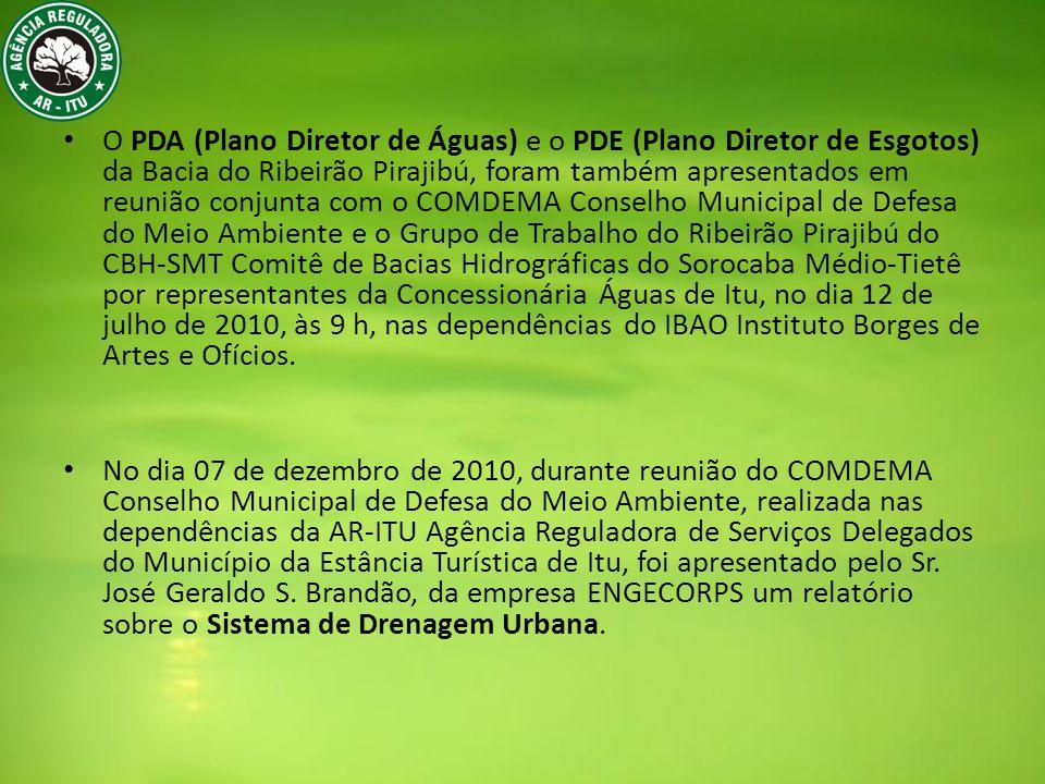 O PDA (Plano Diretor de Águas) e o PDE (Plano Diretor de Esgotos) da Bacia do Ribeirão Pirajibú, foram também apresentados em reunião conjunta com o COMDEMA Conselho Municipal de Defesa do Meio Ambiente e o Grupo de Trabalho do Ribeirão Pirajibú do CBH-SMT Comitê de Bacias Hidrográficas do Sorocaba Médio-Tietê por representantes da Concessionária Águas de Itu, no dia 12 de julho de 2010, às 9 h, nas dependências do IBAO Instituto Borges de Artes e Ofícios.
