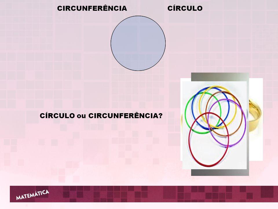 CIRCUNFERÊNCIA CÍRCULO CÍRCULO ou CIRCUNFERÊNCIA