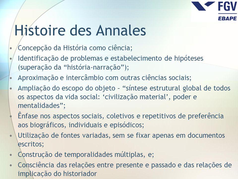 Histoire des Annales Concepção da História como ciência;