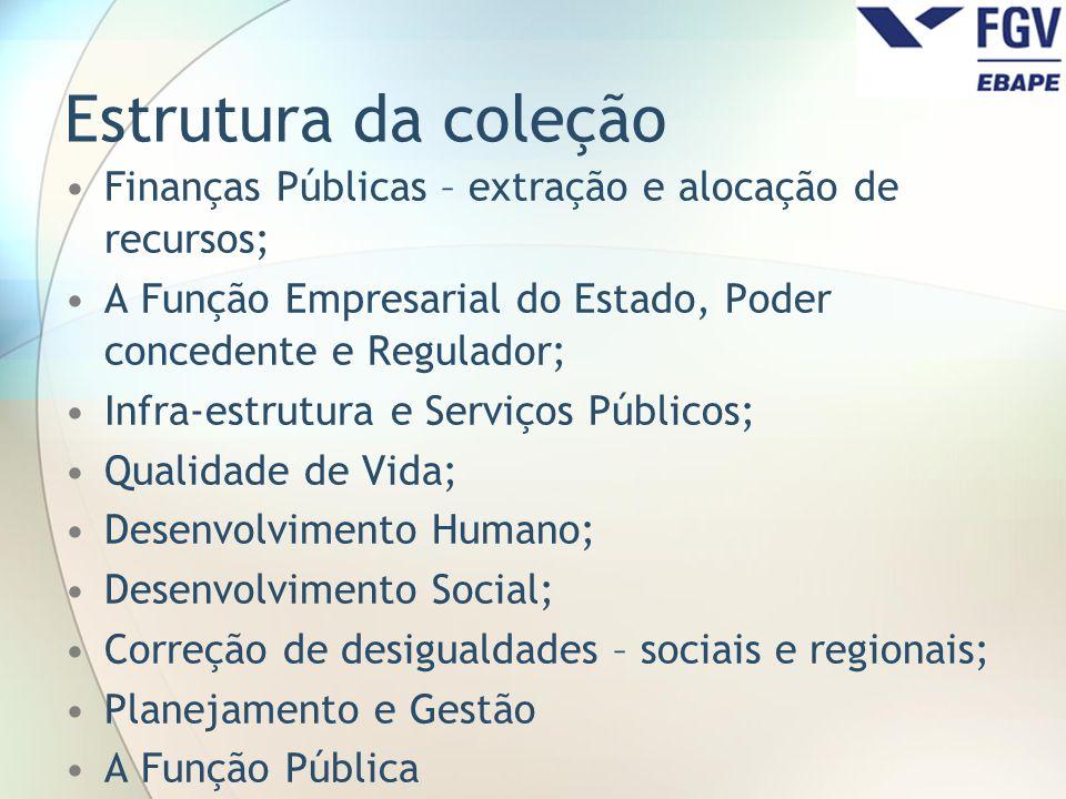 Estrutura da coleção Finanças Públicas – extração e alocação de recursos; A Função Empresarial do Estado, Poder concedente e Regulador;