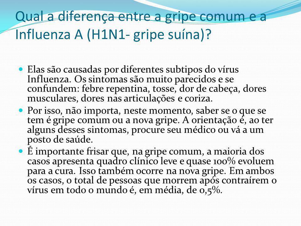 Qual a diferença entre a gripe comum e a Influenza A (H1N1- gripe suína)