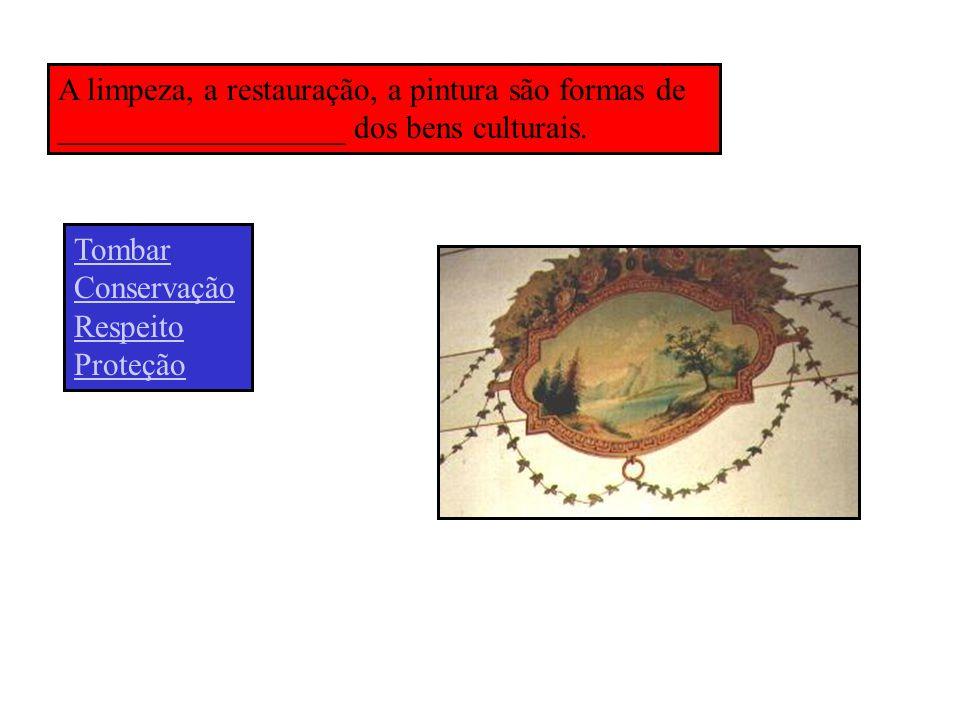 A limpeza, a restauração, a pintura são formas de __________________ dos bens culturais.