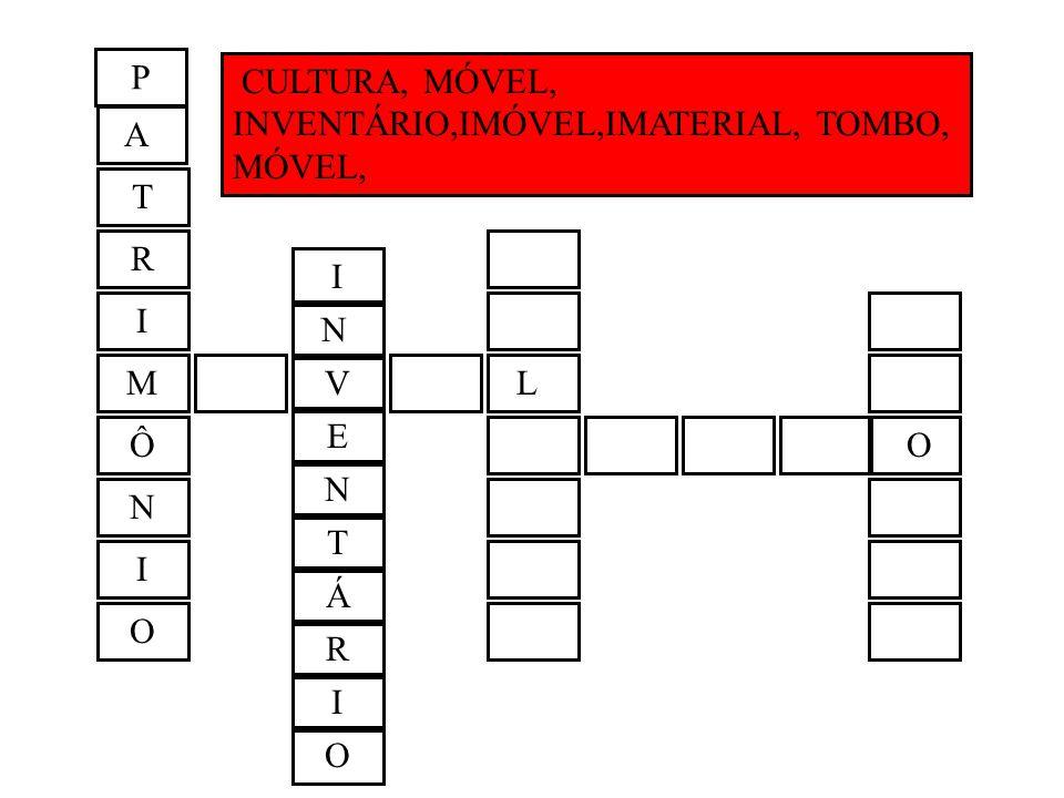 P CULTURA, MÓVEL, INVENTÁRIO,IMÓVEL,IMATERIAL, TOMBO, MÓVEL, A. T. R. I. I. N. M. V. L. E.