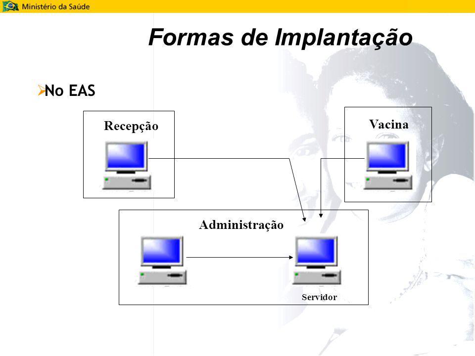 Formas de Implantação No EAS Recepção Vacina Administração Servidor