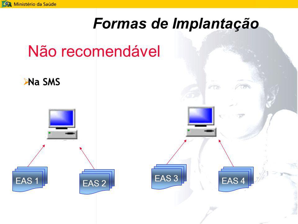 Formas de Implantação Não recomendável Na SMS EAS 3 EAS 1 EAS 4 EAS 2