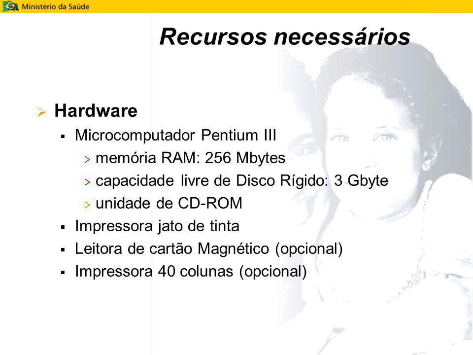 Recursos necessários Hardware Microcomputador Pentium III