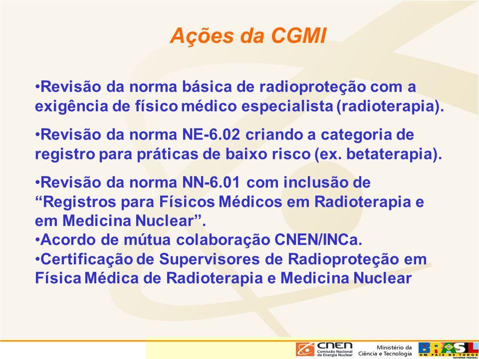 Ações da CGMI Revisão da norma básica de radioproteção com a exigência de físico médico especialista (radioterapia).