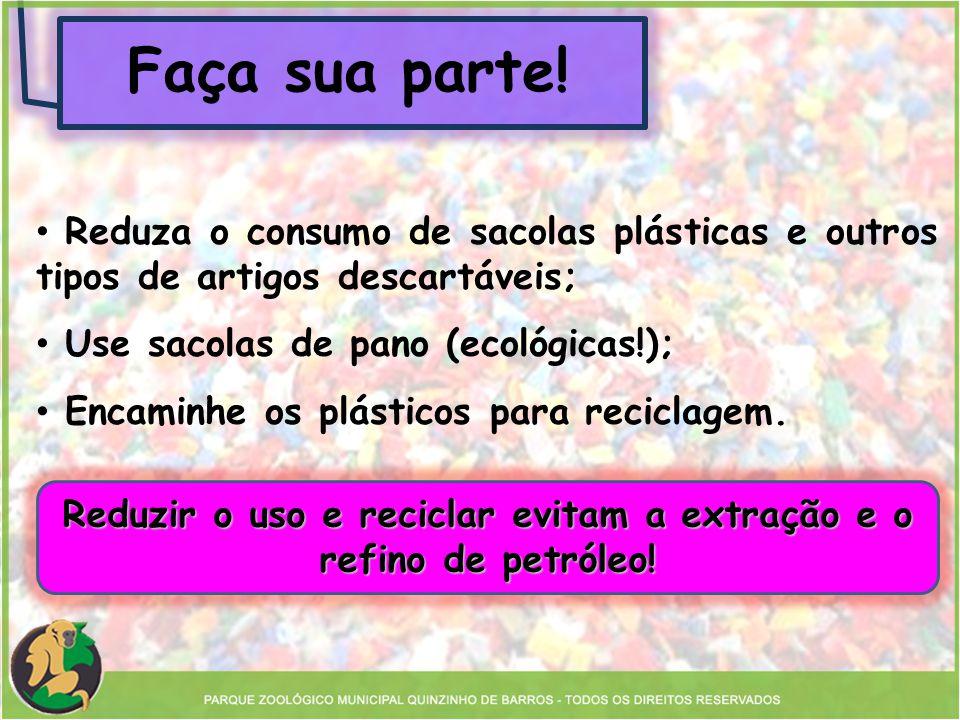 Reduzir o uso e reciclar evitam a extração e o refino de petróleo!