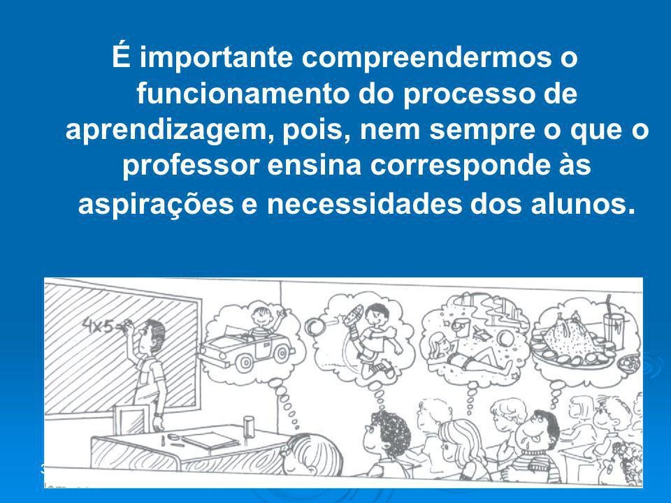 É importante compreendermos o funcionamento do processo de aprendizagem, pois, nem sempre o que o professor ensina corresponde às aspirações e necessidades dos alunos.
