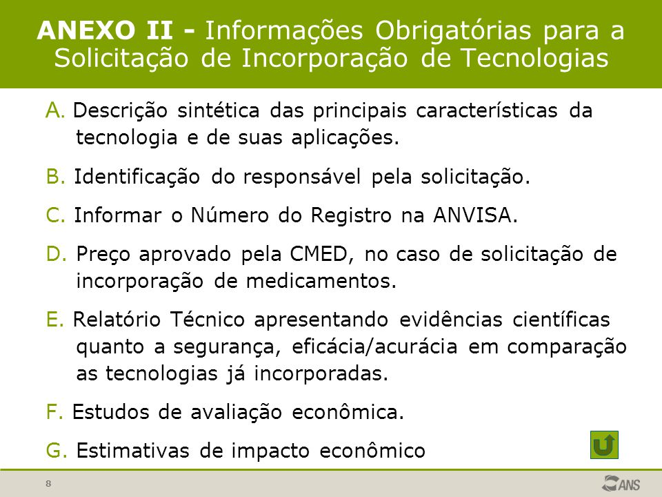 ANEXO II - Informações Obrigatórias para a Solicitação de Incorporação de Tecnologias