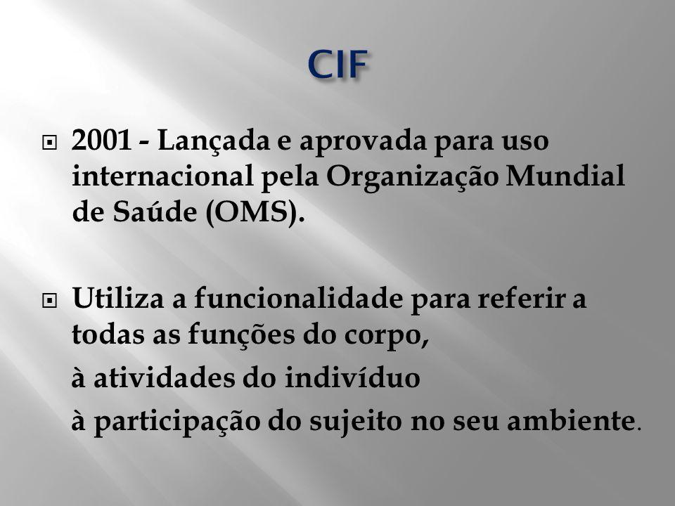 CIF 2001 - Lançada e aprovada para uso internacional pela Organização Mundial de Saúde (OMS).