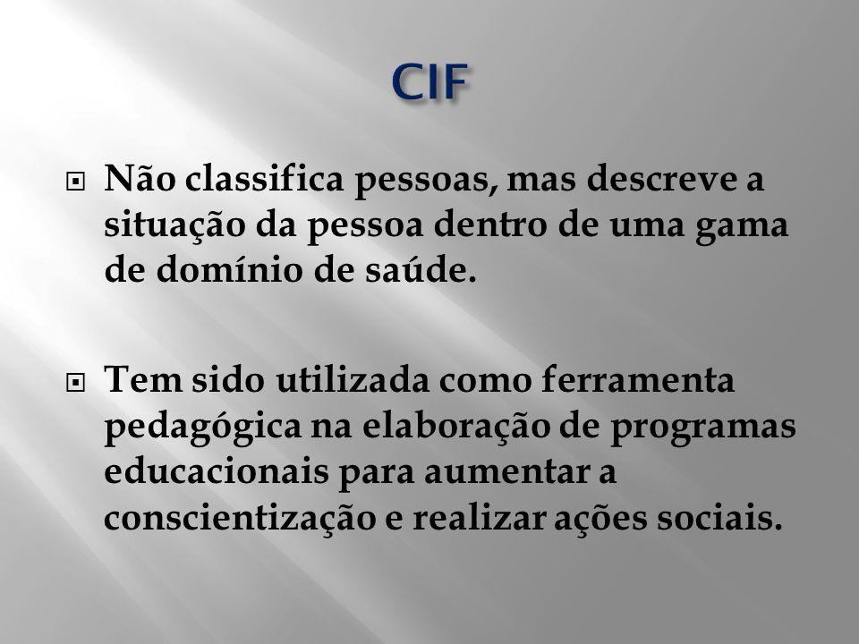 CIF Não classifica pessoas, mas descreve a situação da pessoa dentro de uma gama de domínio de saúde.