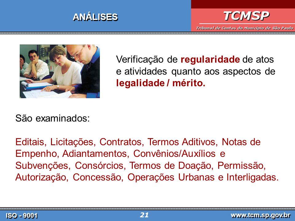 ANÁLISES Verificação de regularidade de atos e atividades quanto aos aspectos de legalidade / mérito.