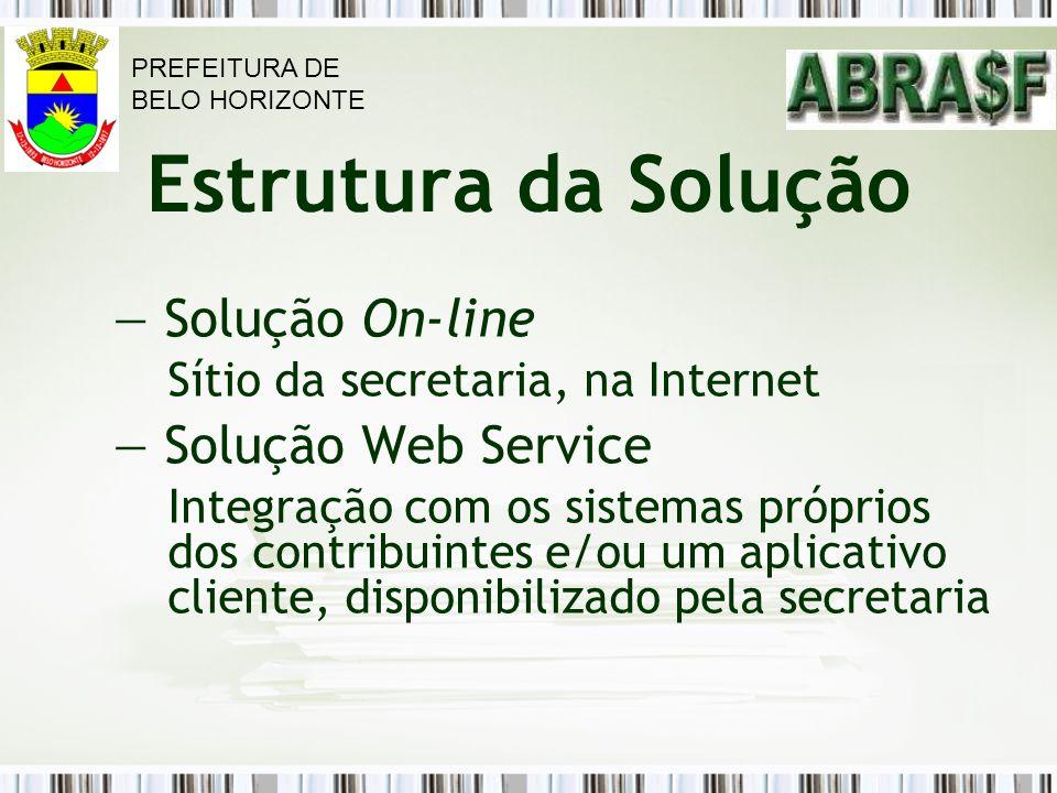 Solução On-line Solução Web Service Estrutura da Solução