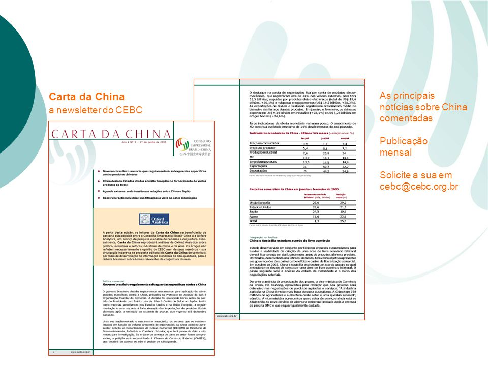 Carta da China a newsletter do CEBC